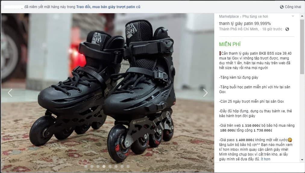 Giày Patin cũ còn rất mới được rao bán
