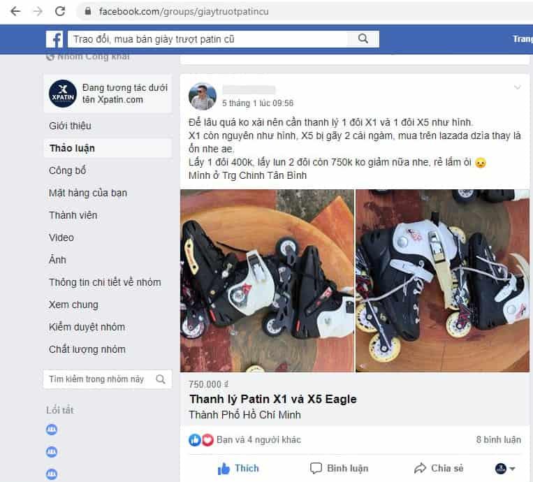 Giày trượt Patin cũ được thành viên rao bán