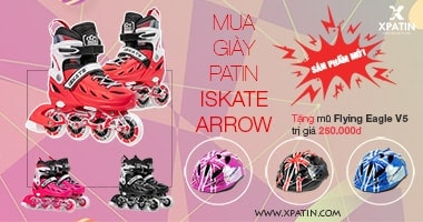 Baner KM mua giày patin iSkate Arrow tặng mũ Flying Eagle V5