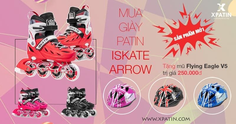 Mua giày patin iSkate Arrow tặng mũ Flying Eagle V5
